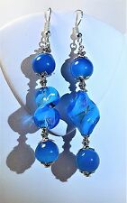 HANDMADE BLUE CRYSTAL TWISTED GLASS SILVER CAP DANGLE EARRING SILVER FRENCH HOOK