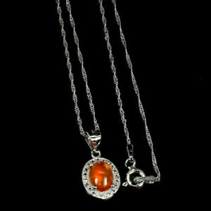 Pendant Fire Opal Genuine Natural Gem Solid Sterling Silver with 18 Inch Chain
