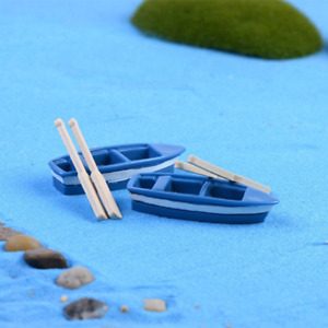 Blue Boat with Paddles Figures fish tank aquarium decorations statue resin craft