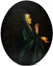 Gemälde Öl auf Holz Eiche oval 17./ 18. Jh. Hl. Maria  62 x 49 cm Muttergottes