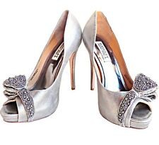 Badgley Mischka Women's Vonda Pewter Silver Peep Toe Beaded Wedding Pump 7.5 M