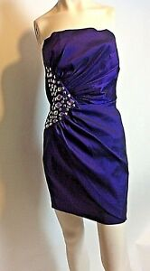 Vtg Jessica Mc Clinton Ruched Purple Formal Strapless Dress With Embellishments