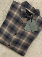 "ALL SAINTS MEN'S BROWN CHECK ""MULVEY"" LONG SLEEVE SHIRT TOP - XS & S - NEW TAGS"