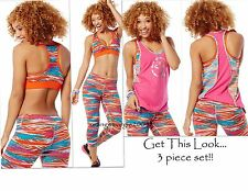 ZUMBA FITNESS 3Pc.Set!~Treaded Capri leggings~Mid-level Bra Top~Bubble Top S M L