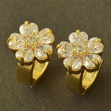 Shiny 9K Yellow Gold Filled Cubic Zirconia Womens Girls Sunflower Hoop Earrings
