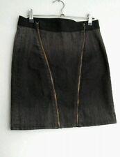 """Designer HELMUT LANG denim pencil skirt Stretch size 10 28"""" --MINT-- grey"""