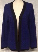 CHRISTOPHER & BANKS Womans Sweater Size L Blue Black Open Cardigan Textured