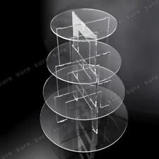 4 Tier Level Round Cupcake Stand Dessert Tower Clear Acrylic Display Cake Stand