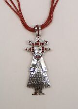 Amazing Handmade Navajo Coral 3 strand Necks/SS Coral Inlay Corn Maiden Pendant