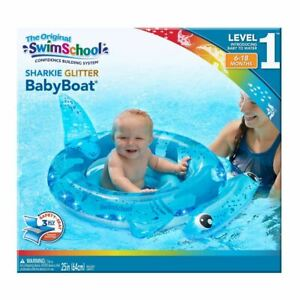 SwimSchool Baby Boat Sharkie Gliter Blue Inflatable Pool Float Floating (6-18 mo