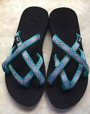 TEVA OLAWAHU WOMENS STRAPPY SANDALS AQUA/WHITE/YELLOW SIZE 6