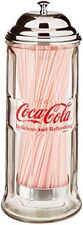 TableCraft's CC322 Coca-Cola Glass Straw Dispenser with Metal Lid