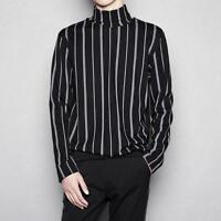 Mens Gothic Striped Turtleneck Shirt Casual Pullover Blouse Tops Slim Fit Hoodie
