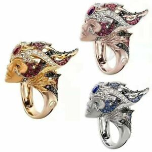 925 Silver Ruby Cocktail Ring 18K Gold Plated Fashion Wedding Jewelry Size 6-10