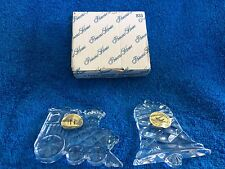 Princess House: 2 Lead Crystal Ornaments (Locomotive And Bell) #833