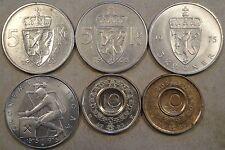 Norway 5 Krone 1963,66,75,75(Com) 10 Krone 1983+86 Better Grade-BU as pictured