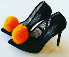 Orange Pom Poms, Orange Shoe Clips, Orange Rabbit Fur, Orange Shoe Accessories