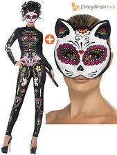 Azúcar Calavera Esqueleto Gato señoras Vestido de fantasía de Halloween Disfraz Día de los muertos