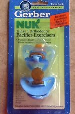 Vintage NOS 1992 Gerber NUK Pacifier-Exerciser New In Package 0-6 mon blue