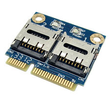 Two TF Micro SD Card to Mini PCI-E Express with half Bracket Memory Card Reader