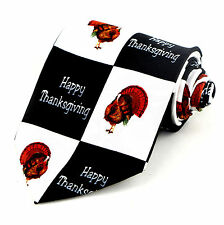 Happy Thanksgiving Turkeys Mens Necktie Holiday Checkerboard Black Neck Tie