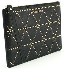 Michael Kors Clutch Wristlet Bag Black Studded Pebbled Leather Adele RRP £110