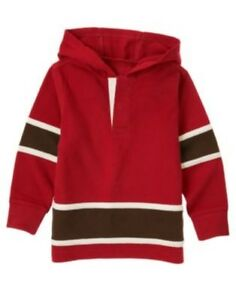 GYMBOREE ALPINE PATROL RED HOODED RUGBY L/S TOP 4 5 6 7 12 NWT