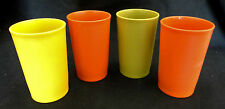 4 Vintage Tupperware 8oz Harvest Colors Gold Green Orange Tumblers Cups