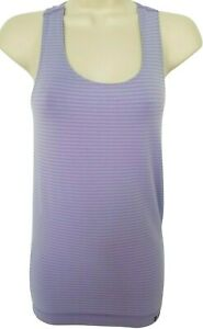 Under Armour Heat Gear Womens Purple Striped Racerback Fitted Tank Top Small