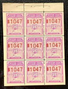 US Telegraph Stamps SC#16T96 25c Bright Violet Pane of 9 MNH/OG