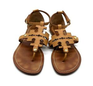 Tory Burch Sandals Size 7-1/2 M Ankle Strap Tan Double T Phoebe S/N 11148371