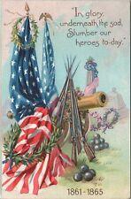 Postcard Decoration Day US Flag Rifles Cannon Grave Raphael Tuck  C6