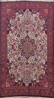 Vintage Ivory Floral Bidjar Area Rug Hand-Knotted Oriental Wool Carpet 7x11 ft