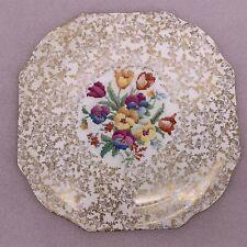 VTG H&K Tunstall Old English Sampler Collector Plate Spring Floral Chintz Gold