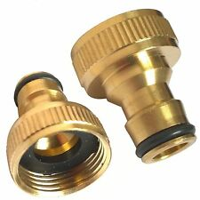 "BRASS 3/4"" THREADED TAP CONNECTOR- FITS HOZELOCK 1/2"" SNAP FITTINGS GARDEN HOSE"