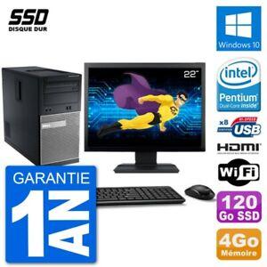 """PC Dell 3010 MT Ecran 22"""" G2020 RAM 4Go SSD 120Go HDMI Windows 10 Wifi"""