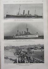 1902 PRINT ~ BRITISH CRUISER RETRIBUTION GERMAN CRUISER VINETA ~ LANDING PARTY