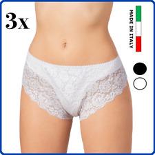 Set 3 slip contenitivo da donna panciera pancera mutande in cotone pizzo alte