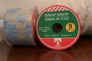 2 Rolls Of 9ft Christmas House Burlap Ribbon