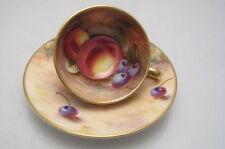Vintage porcelana de Royal Worcester Fruta En Miniatura Taza Platillo Freeman Handpaint