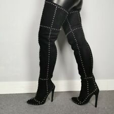 Womens Over the Knee Boots Rivets Metal Zip Stilettos Heels Nightclub UK10 Sz46