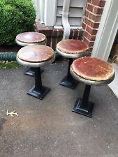 Vintage Duro Chrome Cast Iron Stools W/Leather Seats (4)