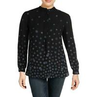 Anne Klein Womens Printed Long Sleeves High-Low Blouse Top SIZE M