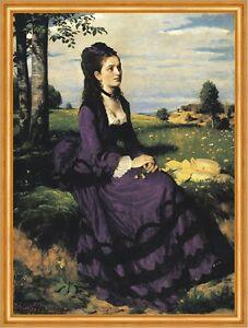 Lady in Violet Pal Szinyei Merse Frauen Mode Kleider Wiese Sommer B A2 02956