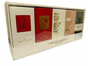 Mini Gift Set of 5 Carolina Herrera 212 VIP Rose Good Girl CH Women Perfume