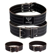 """JAYEFO PRO WEIGHT LIFTING BELT 4"""" GENUINE LEATHER FOR SQUATS DEADLIFTS CROSS FIT"""