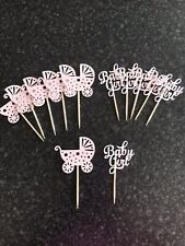 12 X Baby Girl Pink New Arrival Cup Cake Food Pick Toppers 👶 🍼Shower Party! 🎀