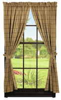 Olivia/'s Heartland country primitive Burlap Wine burgundy Panel Curtains 72x63