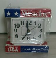 Vintage NIB Sealed Westclox Electric Alarm Clock - White USA Made