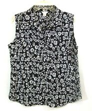 Christopher Banks Sleeveless Button Front Blouse Black White Floral Print Size M